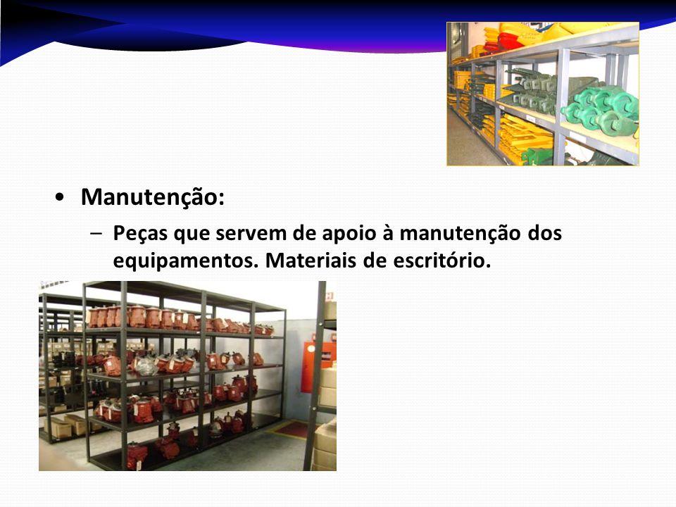 Manutenção: –P–Peças que servem de apoio à manutenção dos equipamentos. Materiais de escritório.