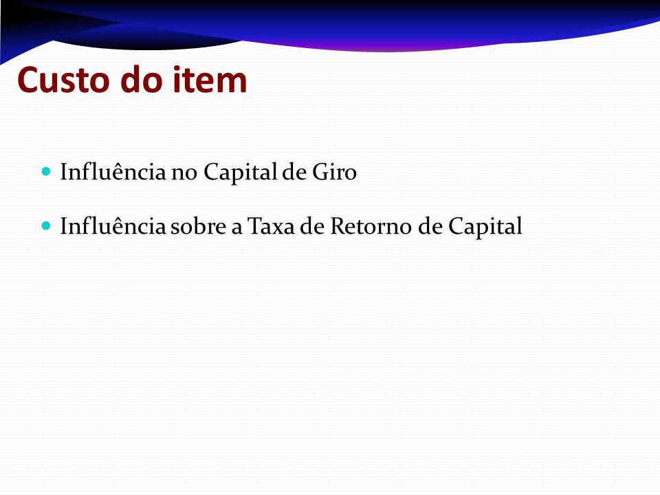 Custo do item Influência no Capital de Giro Influência sobre a Taxa de Retorno de Capital