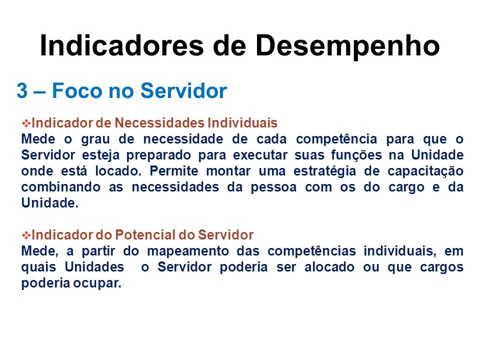 Indicadores de Desempenho 3 – Foco no Servidor Indicador de Necessidades Individuais Mede o grau de necessidade de cada competência para que o Servido