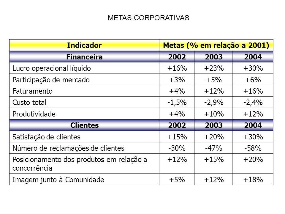 IndicadorMetas (% em relação a 2001) Financeira200220032004 Lucro operacional líquido+16%+23%+30% Participação de mercado+3%+5%+6% Faturamento+4%+12%+