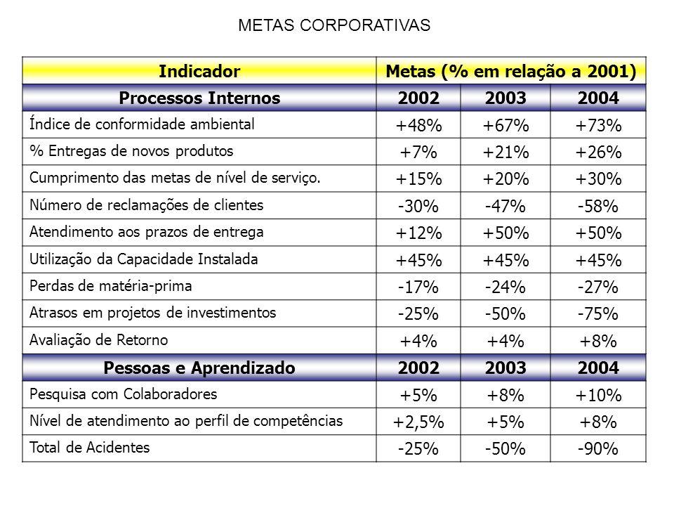 IndicadorMetas (% em relação a 2001) Processos Internos200220032004 Índice de conformidade ambiental +48%+67%+73% % Entregas de novos produtos +7%+21%