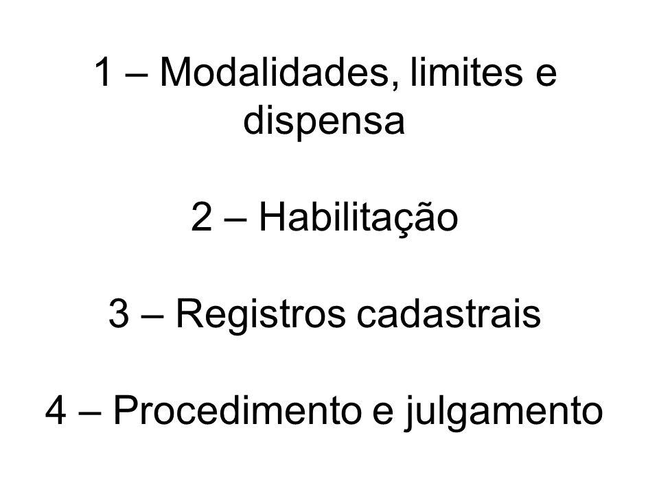 1 – Modalidades, limites e dispensa