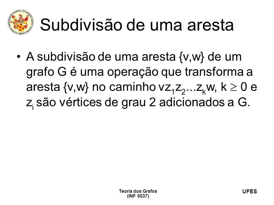 UFES Teoria dos Grafos (INF 5037) Subdivisão de uma aresta A subdivisão de uma aresta {v,w} de um grafo G é uma operação que transforma a aresta {v,w}