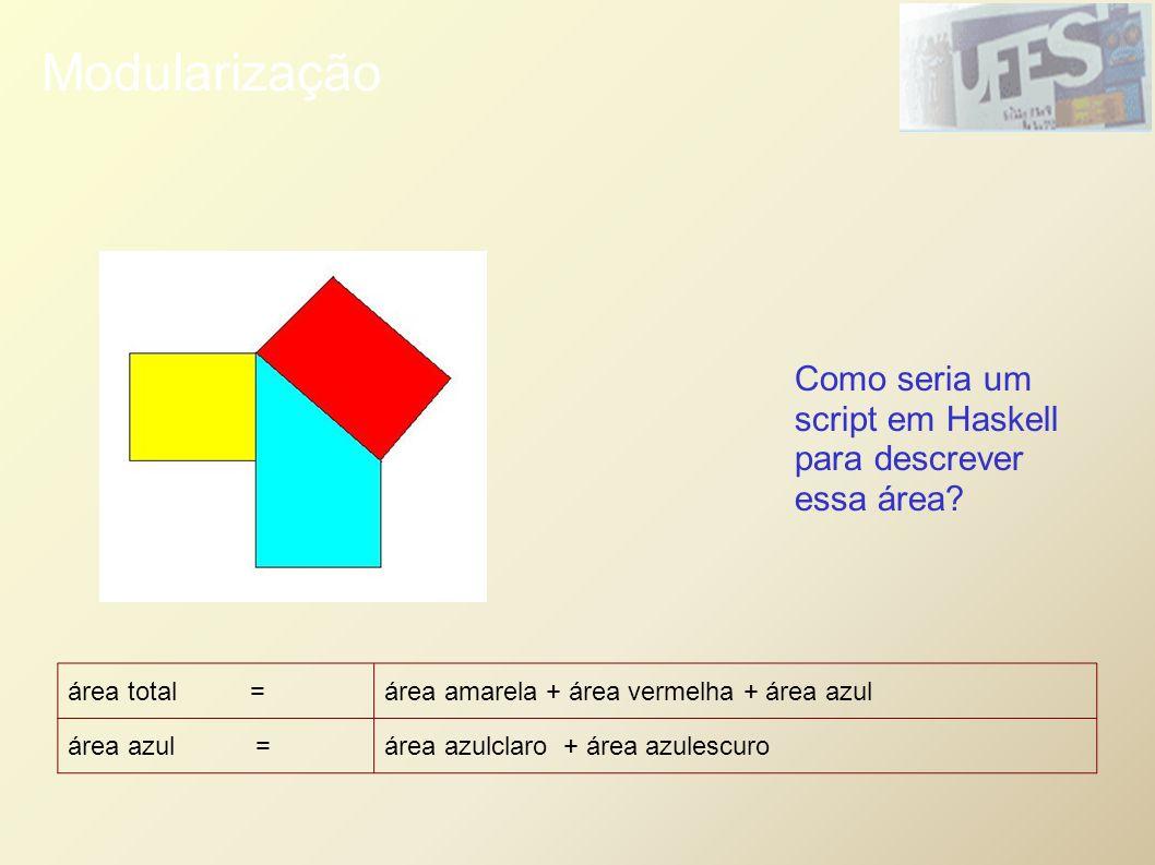 Modularização área total =área amarela + área vermelha + área azul área azul = área azulclaro + área azulescuro Como seria um script em Haskell para d