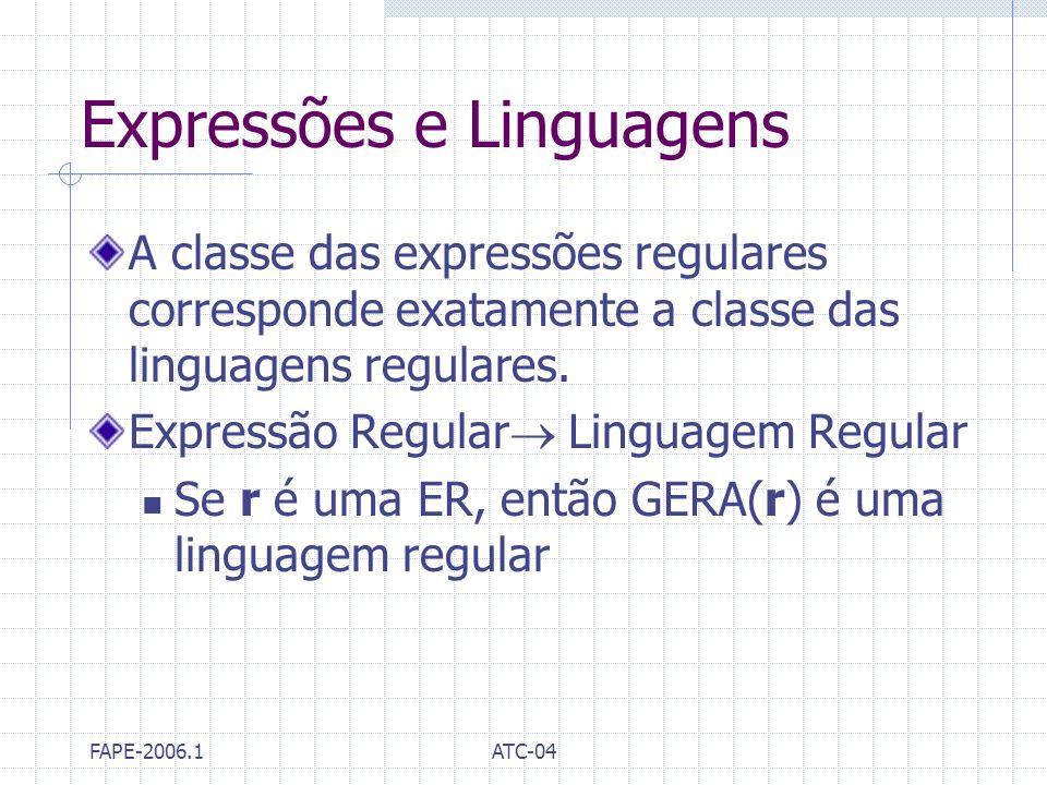 FAPE-2006.1ATC-04 Expressões e Linguagens A classe das expressões regulares corresponde exatamente a classe das linguagens regulares. Expressão Regula