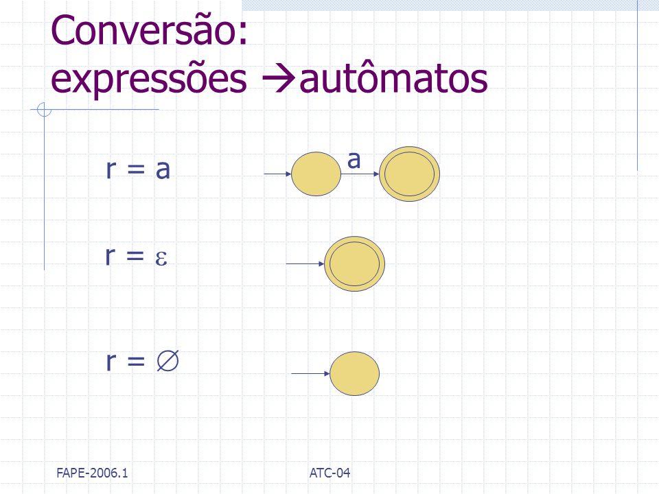 FAPE-2006.1ATC-04 Conversão: expressões autômatos r = a r = a