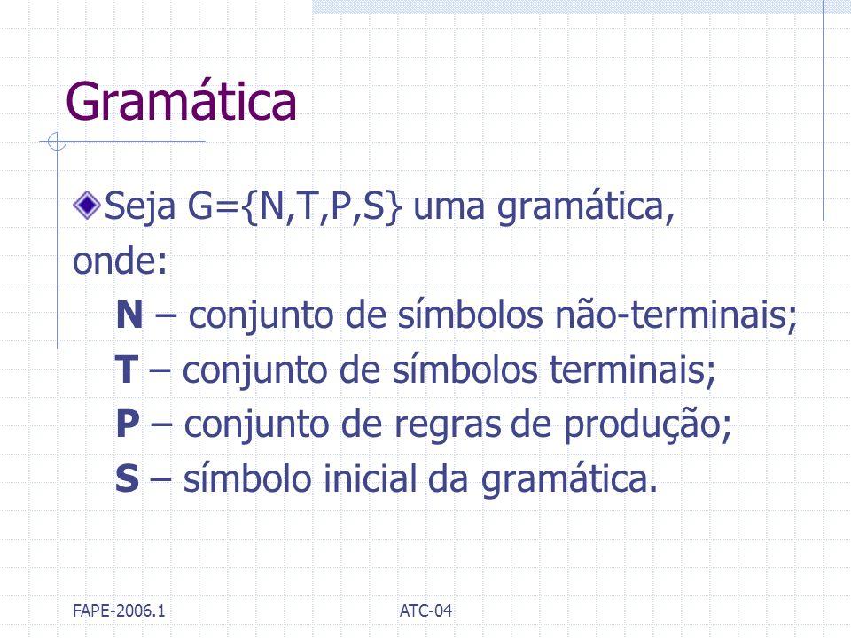 FAPE-2006.1ATC-04 Gramática Seja G={N,T,P,S} uma gramática, onde: N – conjunto de símbolos não-terminais; T – conjunto de símbolos terminais; P – conj