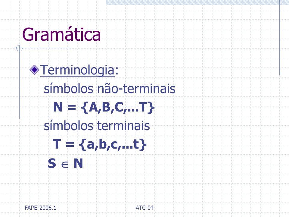 FAPE-2006.1ATC-04 Gramática Terminologia: símbolos não-terminais N = {A,B,C,...T} símbolos terminais T = {a,b,c,...t} S N