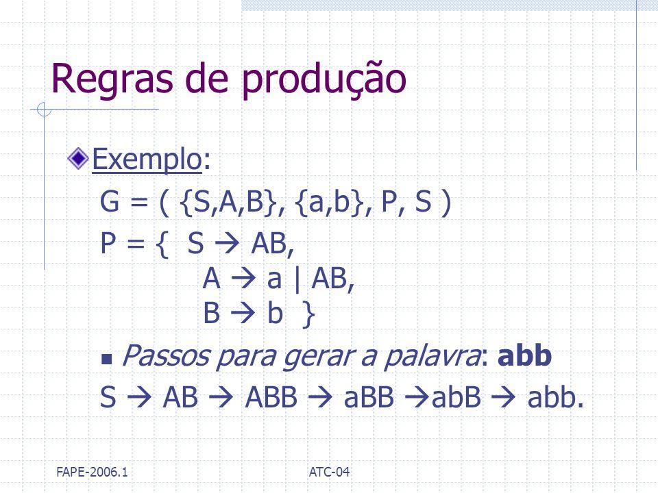 FAPE-2006.1ATC-04 Regras de produção Exemplo: G = ( {S,A,B}, {a,b}, P, S ) P = { S AB, A a | AB, B b } Passos para gerar a palavra: abb S AB ABB aBB a