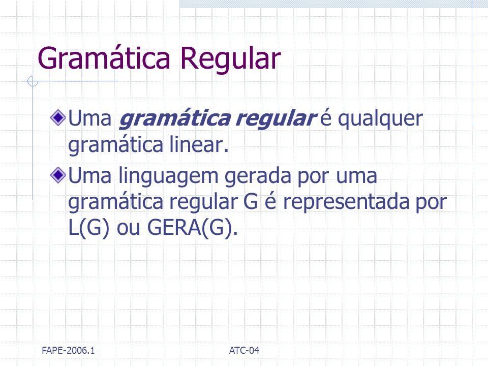 FAPE-2006.1ATC-04 Gramática Regular Uma gramática regular é qualquer gramática linear. Uma linguagem gerada por uma gramática regular G é representada