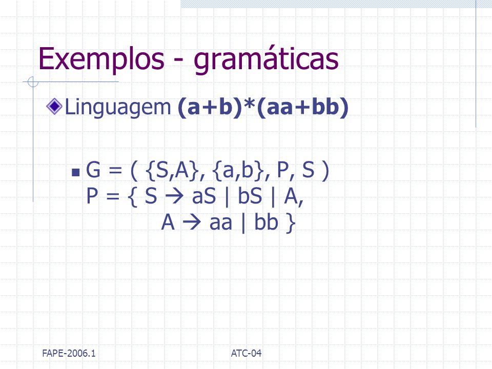FAPE-2006.1ATC-04 Exemplos - gramáticas Linguagem (a+b)*(aa+bb) G = ( {S,A}, {a,b}, P, S ) P = { S aS | bS | A, A aa | bb }