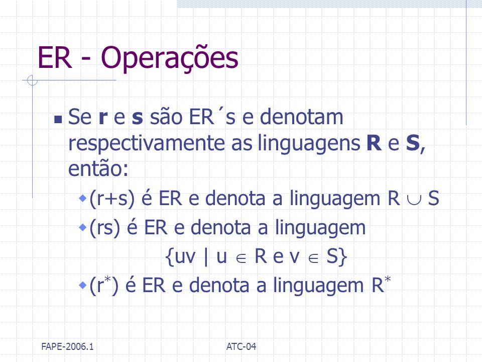 FAPE-2006.1ATC-04 ER - Operações Se r e s são ER´s e denotam respectivamente as linguagens R e S, então: (r+s) é ER e denota a linguagem R S (rs) é ER
