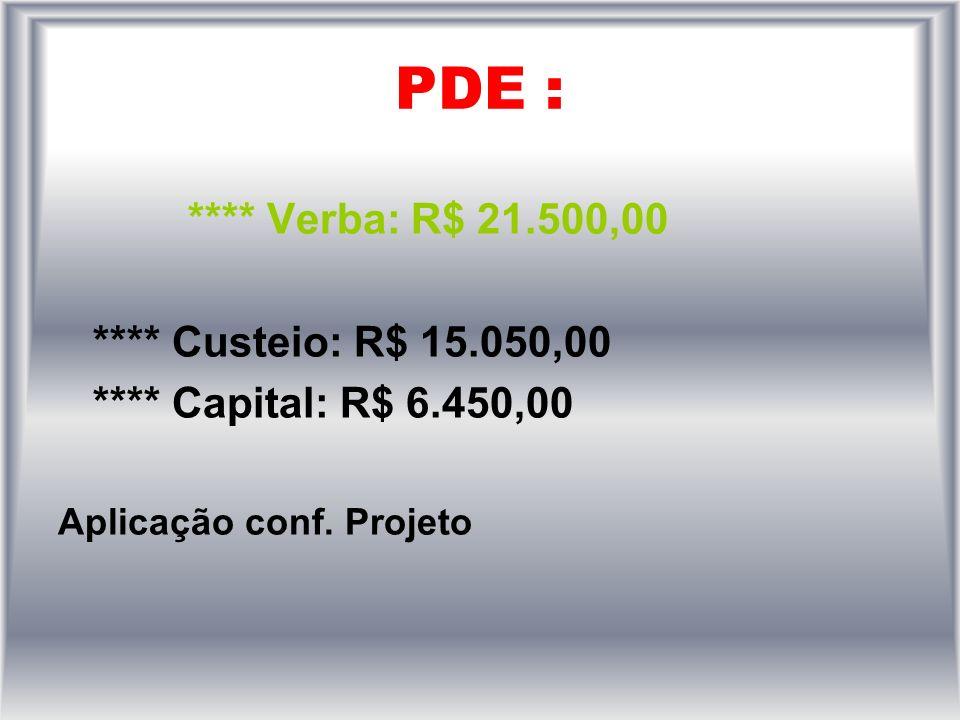 PDE : **** Verba: R$ 21.500,00 **** Custeio: R$ 15.050,00 **** Capital: R$ 6.450,00 Aplicação conf.