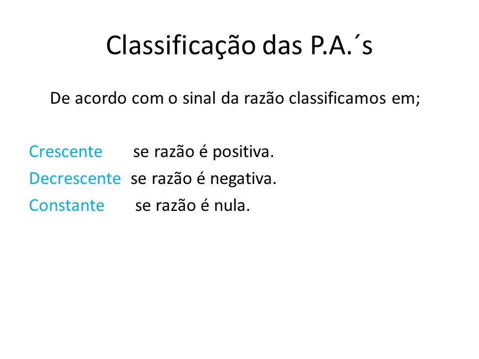 Classificação das P.A.´s De acordo com o sinal da razão classificamos em; Crescente se razão é positiva. Decrescente se razão é negativa. Constante se