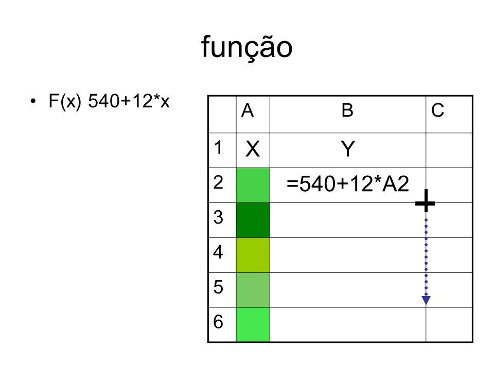 função F(x) 540+12*x ABC 1 XY 2 =540+12*A2 3 4 5 6