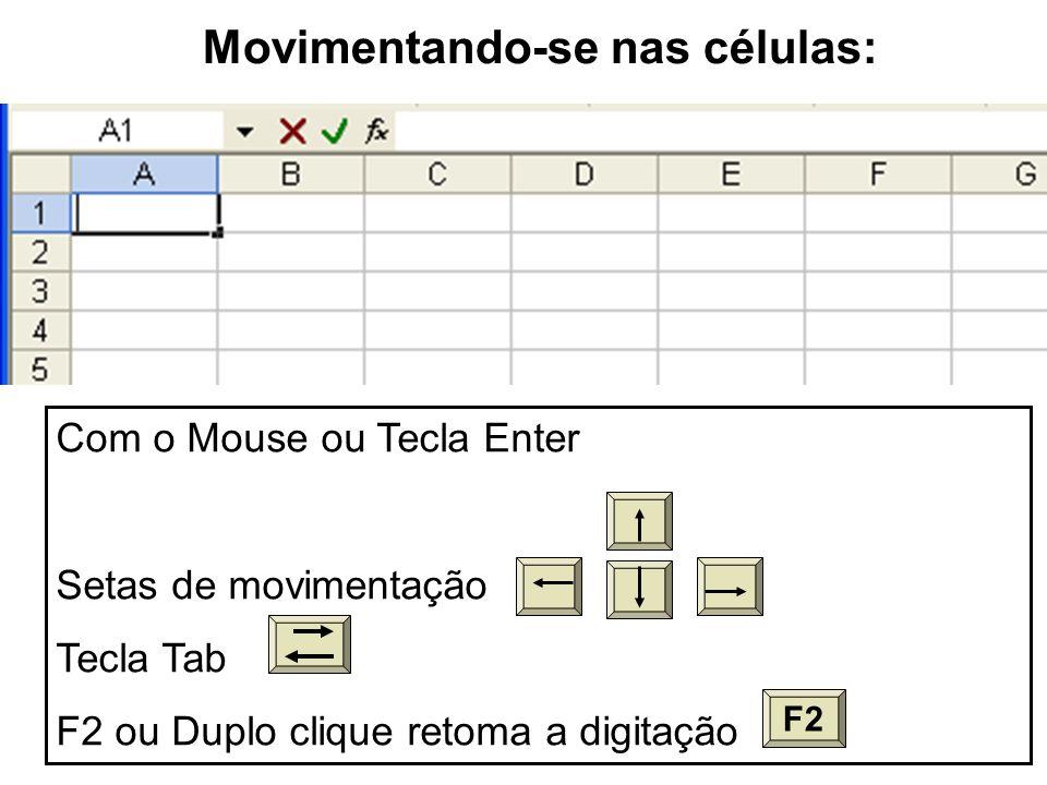 Movimentando-se nas células: Com o Mouse ou Tecla Enter Setas de movimentação Tecla Tab F2 ou Duplo clique retoma a digitação F2