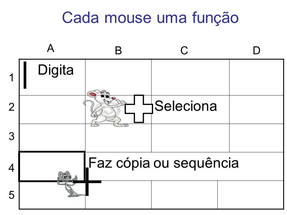 Digita Seleciona Faz cópia ou sequência Cada mouse uma função 1 2 3 4 5 A BCD