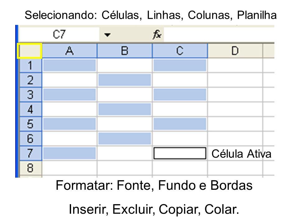 Selecionando: Células, Linhas, Colunas, Planilha Formatar: Fonte, Fundo e Bordas Inserir, Excluir, Copiar, Colar. Célula Ativa
