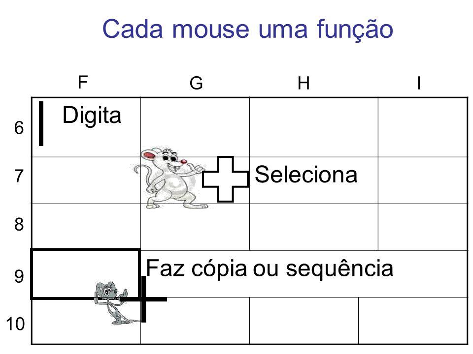 Cada mouse uma função 6 7 8 9 10 F GHI Digita Seleciona Faz cópia ou sequência