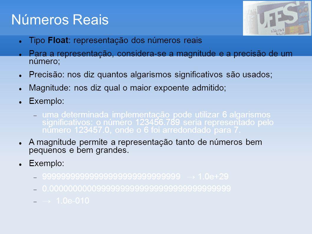 Números Reais Tipo Float: representação dos números reais Para a representação, considera-se a magnitude e a precisão de um número; Precisão: nos diz