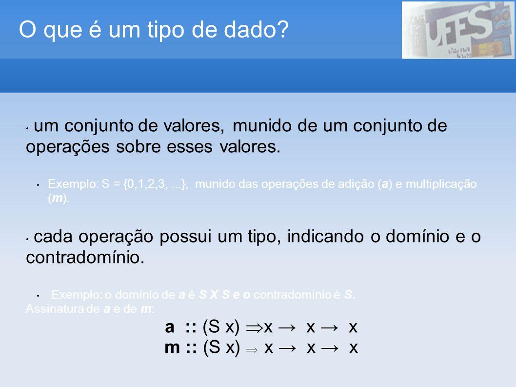 O que é um tipo de dado? um conjunto de valores, munido de um conjunto de operações sobre esses valores. Exemplo: S = {0,1,2,3,...}, munido das operaç