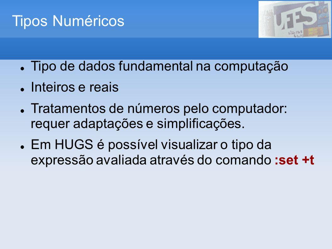 Tipos Numéricos Tipo de dados fundamental na computação Inteiros e reais Tratamentos de números pelo computador: requer adaptações e simplificações. E