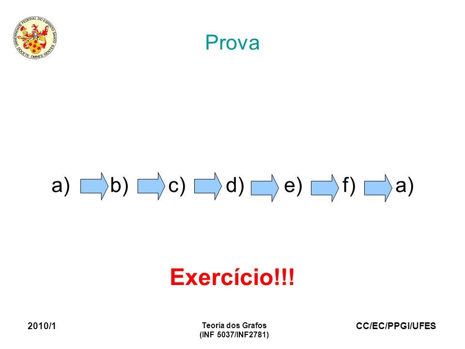 CC/EC/PPGI/UFES 2010/1 Teoria dos Grafos (INF 5037/INF2781) Prova a) b) c) d) e) f) a) Exercício!!!