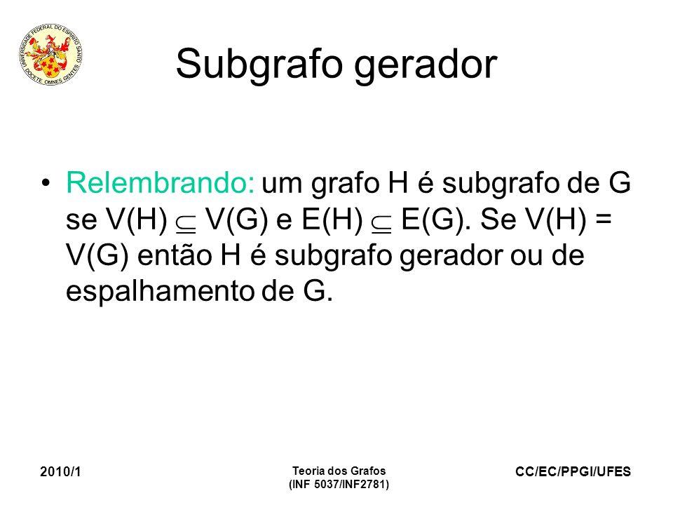 CC/EC/PPGI/UFES 2010/1 Teoria dos Grafos (INF 5037/INF2781) Subgrafo gerador Relembrando: um grafo H é subgrafo de G se V(H) V(G) e E(H) E(G). Se V(H)