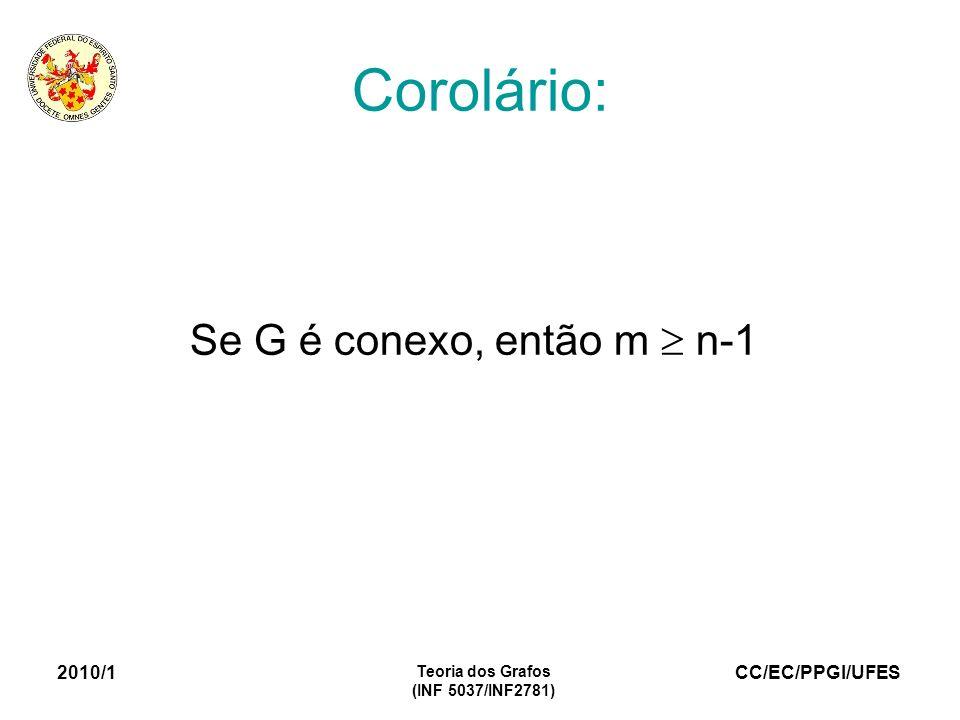 CC/EC/PPGI/UFES 2010/1 Teoria dos Grafos (INF 5037/INF2781) Corolário: Se G é conexo, então m n-1