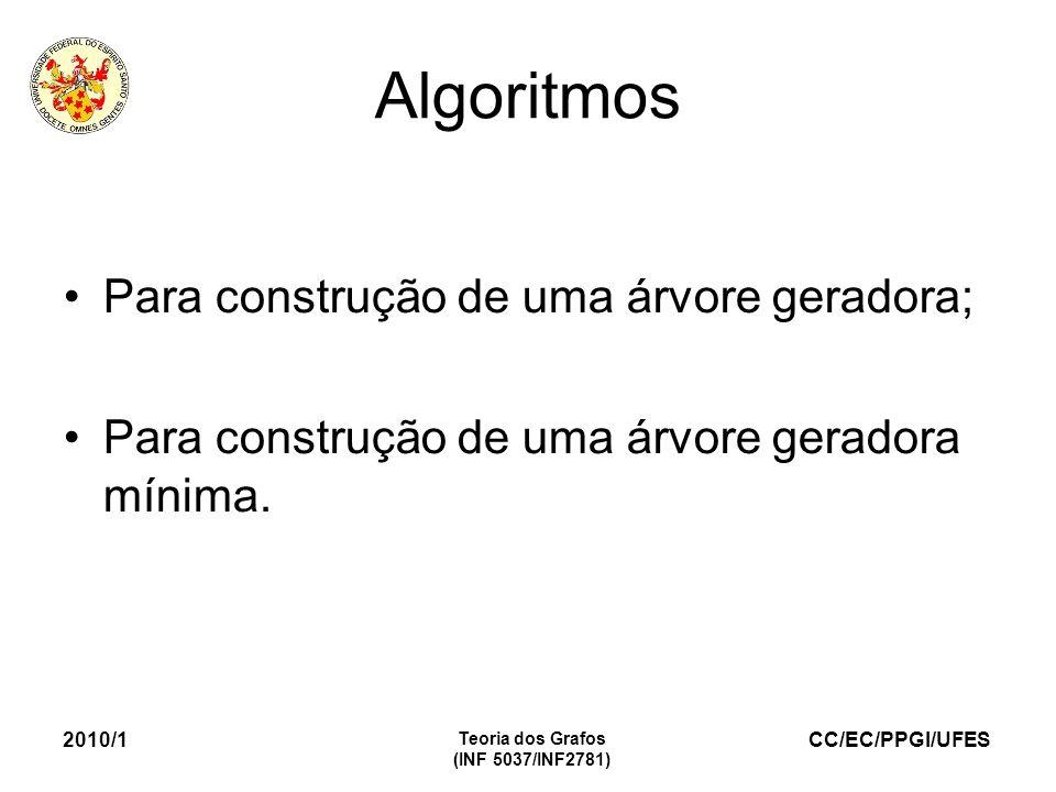 CC/EC/PPGI/UFES 2010/1 Teoria dos Grafos (INF 5037/INF2781) Algoritmos Para construção de uma árvore geradora; Para construção de uma árvore geradora