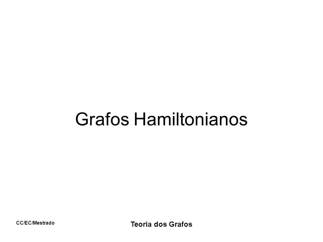 CC/EC/Mestrado Teoria dos Grafos Exercício Exiba um grafo euleriano e hamiltoniano Exiba um grafo euleriano e não hamiltoniano Exiba um grafo não euleriano e hamiltoniano Exiba um grafo não euleriano e não hamiltoniano