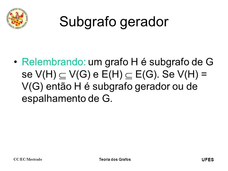 UFES CC/EC/Mestrado Teoria dos Grafos Subgrafo gerador Relembrando: um grafo H é subgrafo de G se V(H) V(G) e E(H) E(G). Se V(H) = V(G) então H é subg