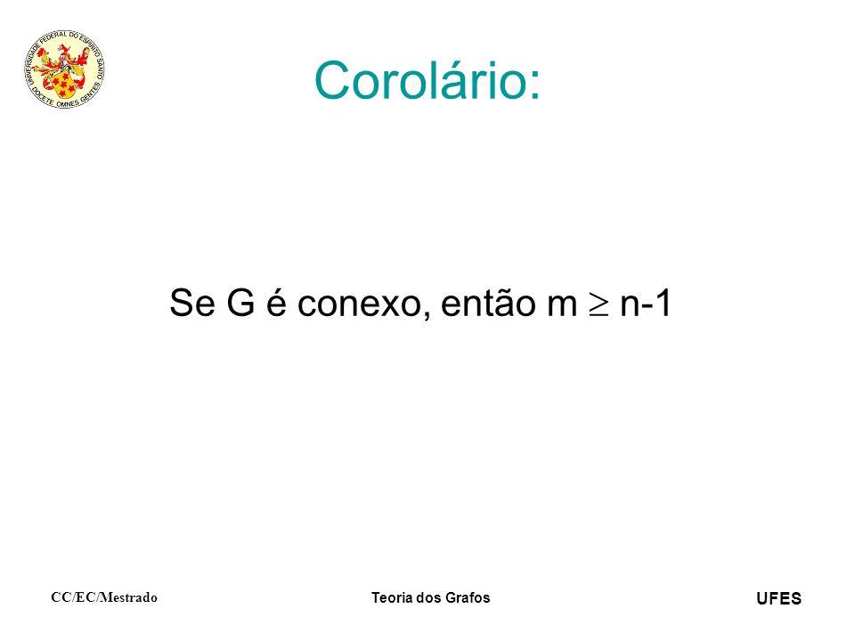 UFES CC/EC/Mestrado Teoria dos Grafos Corolário: Se G é conexo, então m n-1