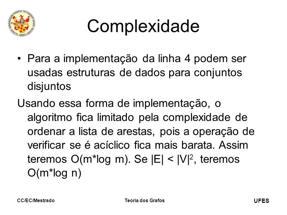 UFES CC/EC/MestradoTeoria dos Grafos Complexidade Para a implementação da linha 4 podem ser usadas estruturas de dados para conjuntos disjuntos Usando