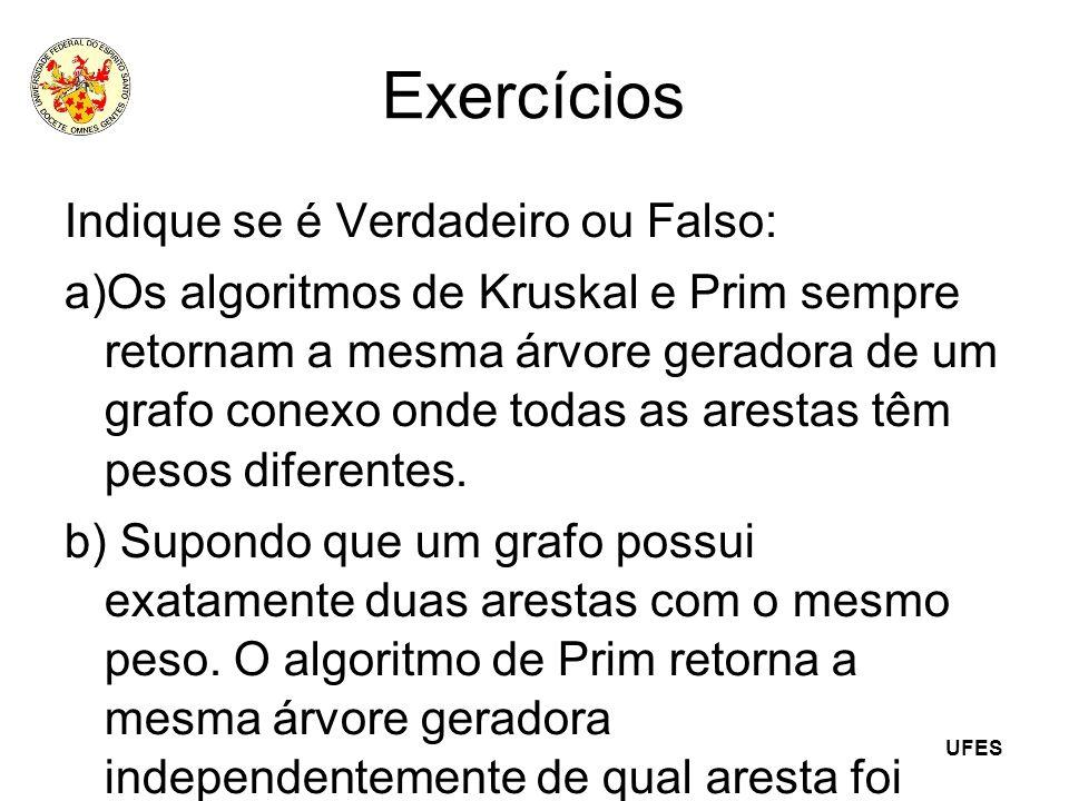 UFES Exercícios Indique se é Verdadeiro ou Falso: a)Os algoritmos de Kruskal e Prim sempre retornam a mesma árvore geradora de um grafo conexo onde to