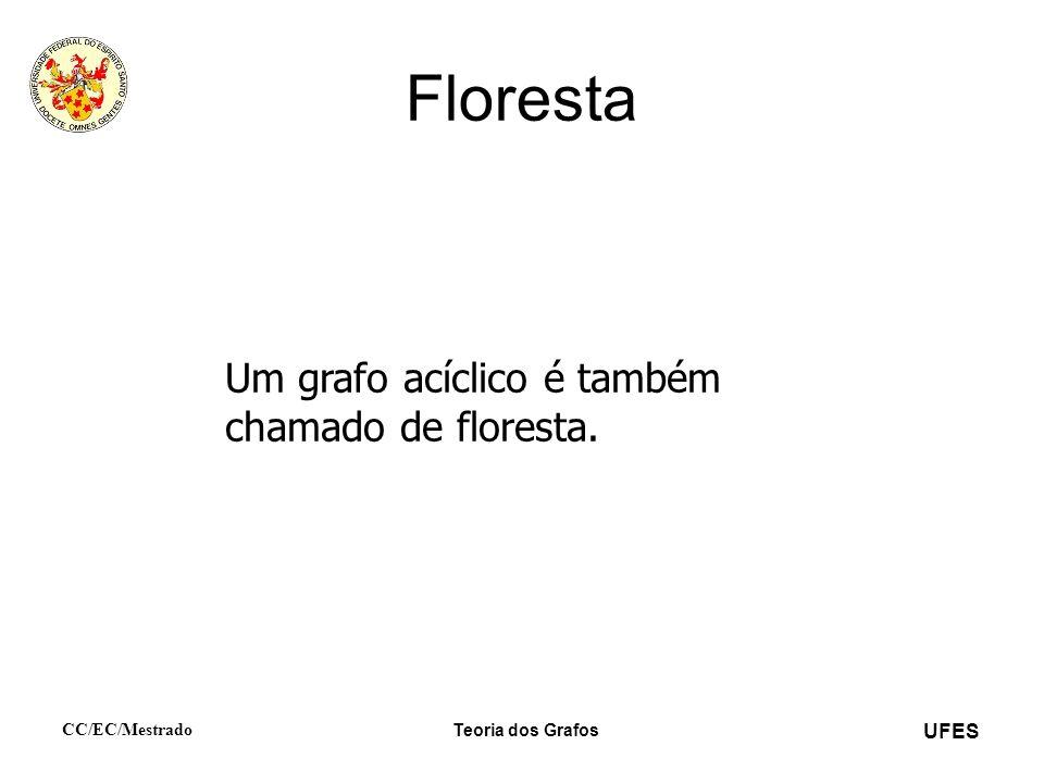 UFES CC/EC/Mestrado Teoria dos Grafos Floresta Um grafo acíclico é também chamado de floresta.