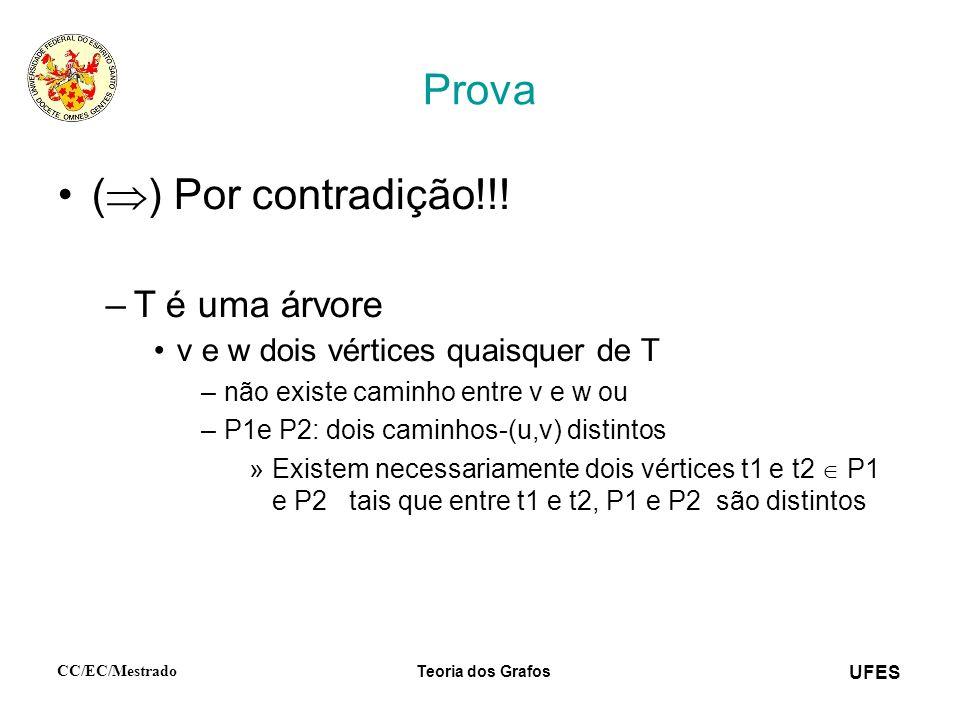 UFES CC/EC/Mestrado Teoria dos Grafos Prova ( ) Por contradição!!! –T é uma árvore v e w dois vértices quaisquer de T –não existe caminho entre v e w