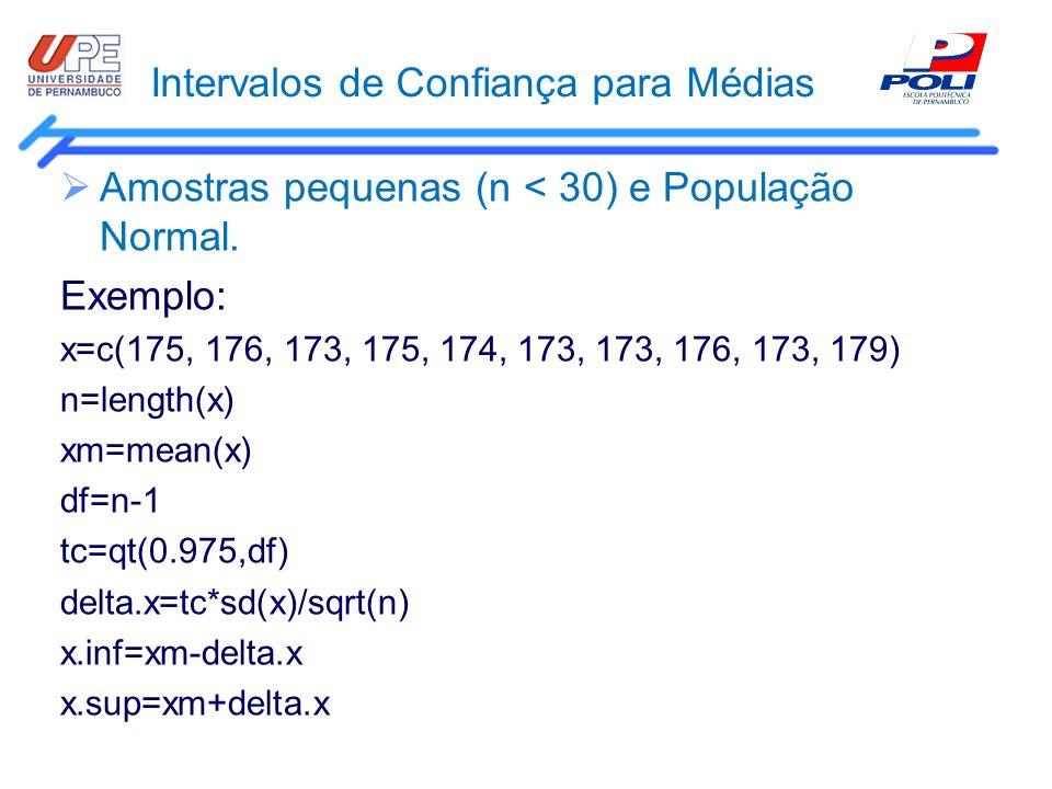 Intervalos de Confiança para Médias Amostras pequenas (n < 30) e População Normal. Exemplo: x=c(175, 176, 173, 175, 174, 173, 173, 176, 173, 179) n=le