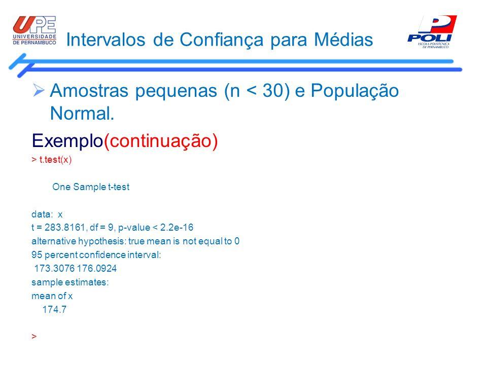 Intervalos de Confiança para Médias Amostras pequenas (n < 30) e População Normal. Exemplo(continuação) > t.test(x) One Sample t-test data: x t = 283.