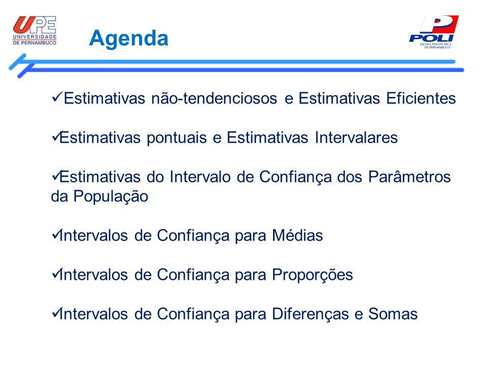 Agenda Estimativas não-tendenciosos e Estimativas Eficientes Estimativas pontuais e Estimativas Intervalares Estimativas do Intervalo de Confiança dos