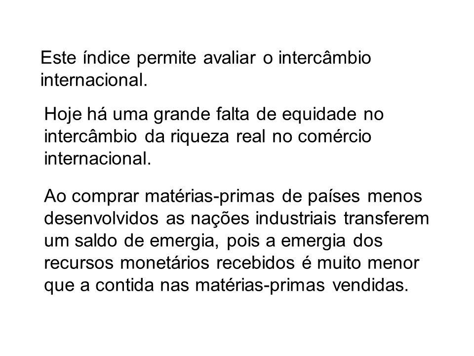 Este índice permite avaliar o intercâmbio internacional. Ao comprar matérias-primas de países menos desenvolvidos as nações industriais transferem um