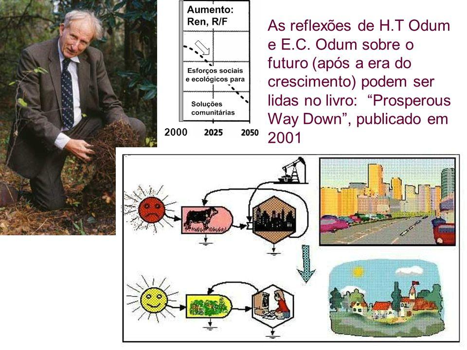 2000 As reflexões de H.T Odum e E.C. Odum sobre o futuro (após a era do crescimento) podem ser lidas no livro: Prosperous Way Down, publicado em 2001