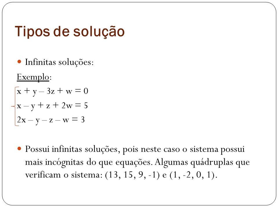 Tipos de solução Infinitas soluções : Exemplo: x + y – 3z + w = 0 x – y + z + 2w = 5 2x – y – z – w = 3 Possui infinitas soluções, pois neste caso o s