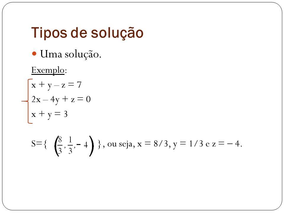 Tipos de solução Uma solução. Exemplo: x + y – z = 7 2x – 4y + z = 0 x + y = 3 S={ }, ou seja, x = 8/3, y = 1/3 e z = 4.