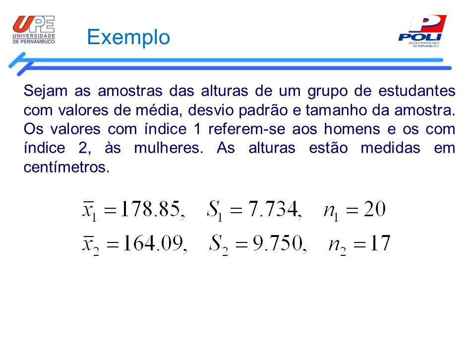 Exemplo Sejam as amostras das alturas de um grupo de estudantes com valores de média, desvio padrão e tamanho da amostra. Os valores com índice 1 refe