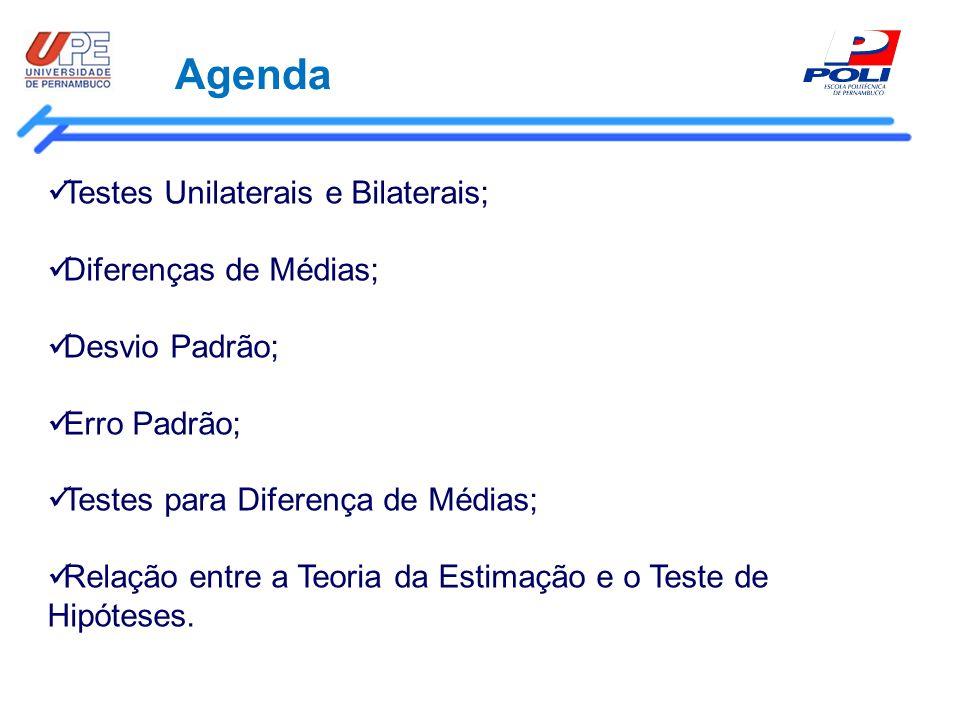 Agenda Testes Unilaterais e Bilaterais; Diferenças de Médias; Desvio Padrão; Erro Padrão; Testes para Diferença de Médias; Relação entre a Teoria da E