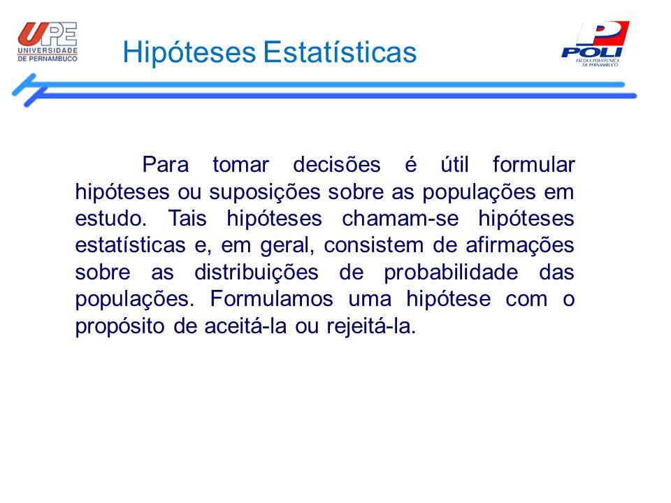 Hipóteses Estatísticas Para tomar decisões é útil formular hipóteses ou suposições sobre as populações em estudo. Tais hipóteses chamam-se hipóteses e