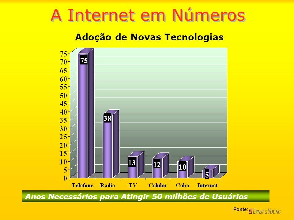 Mercado de Internet BrasileiroMercado de Internet Brasileiro –Brasil 2002: 9º país em número de usuários –Brasil 2005: 11º país em número de usuários A Internet em Números Fontes: CanalWeb, IDG, ITMídia, Gazeta Mercantil, InfoOnline, WebWorld, ITWeb, ComputerWorld, Ibope e E-ratings CIA World Factbook, Janeiro de 2005 1- USA 2- Japão 3- Alemanha 4- Reino Unido 5- China 6- Canadá 7- Coréia do Sul 8- Itália 9- Brasil 10- França 11- Austrália 12- Rússia 13- Taiwan 14- Holanda 15- Espanha 1- USA 2- Japão 3- Alemanha 4- Reino Unido 5- China 6- Canadá 7- Coréia do Sul 8- Itália 9- Brasil 10- França 11- Austrália 12- Rússia 13- Taiwan 14- Holanda 15- Espanha