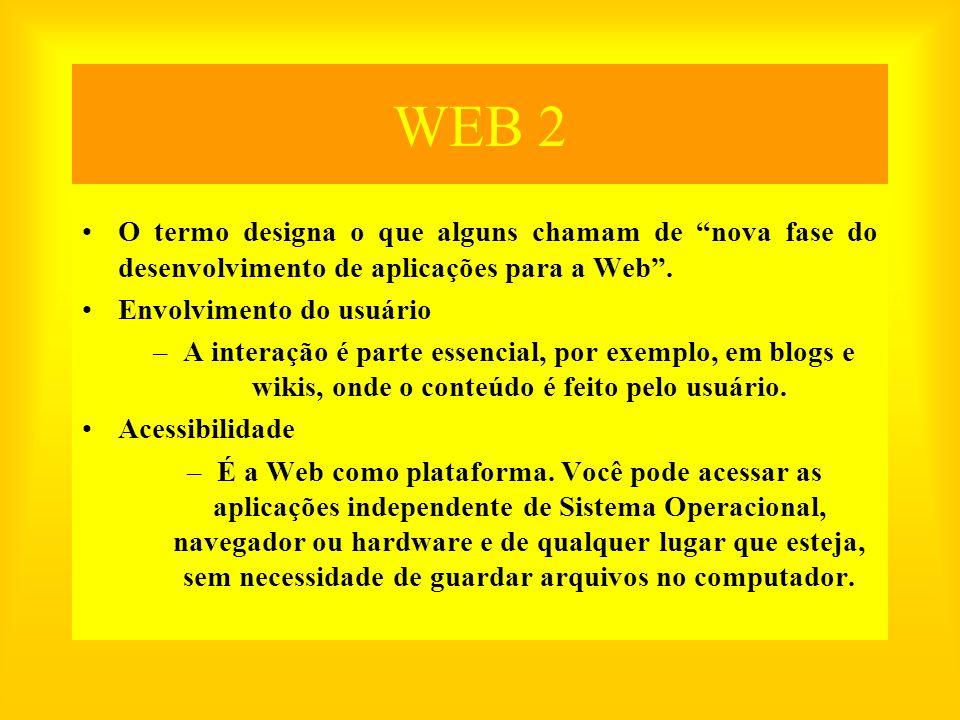 WEB 2 Recursos mais conhecidos Blog –Blog é um sistema onde cada um publica textos, imagens, som com arquivamento cronológico, e normalmente permite que visitantes comentem cada postagem.