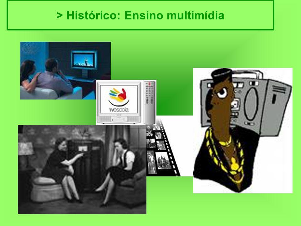 > Histórico > Histórico: Ensino multimídia Surge mais na década de 60, usando múltiplos recursos de ensino: rádio, televisão, telefone, audiocassetes, videocassetes,...